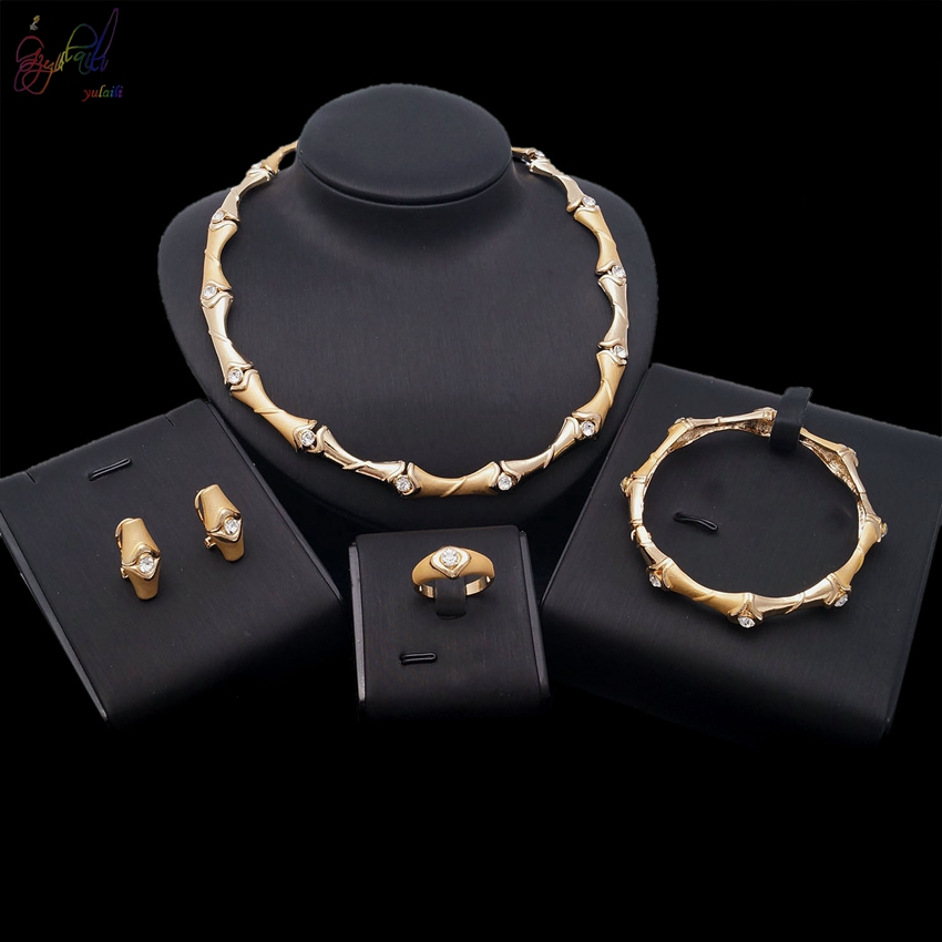 YULAILI 2018 Hot Sell Free Shipping Turkish Classic Gold High Quality Bridal Four Pieces Jewelry Set 2016 hot sell classic 100