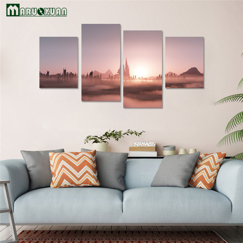 Creative 3D Sunset Stone Forest Landscape Wall Stikcers Sofa TV Background living Bedroom Waterproof Wall Stickers Poster