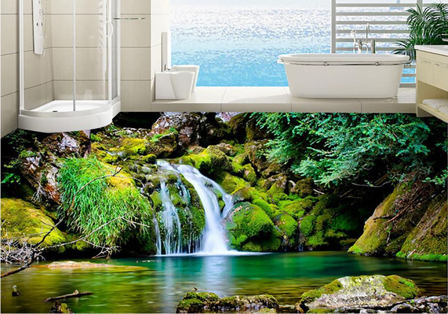 3d stereoscopic floor wallpaper Forest stream scenery 3d flooring HD custom vinyl 3d floor landscape wallpaper stream хатанга 3 sport