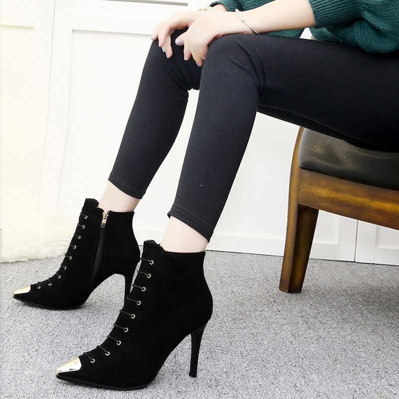 Kış çizmeler kadın 2019 yeni sivri yüksek topuklu kadın kış çizmeler kısa tüp vahşi moda kadın Martin çizmeler