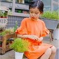 Girls Orange Dress 2016 Summer Newest Children Cotton Short-Sleeved One-Piece Dress Kids Solid Color Party Princess Dress