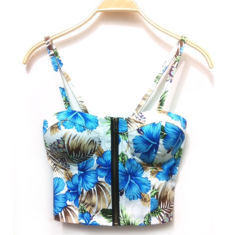New Print Floral Summer Women Clothes Sexy Strap Camis Sweet Floral Bustier Padded Zipper Short Cotton Crop Tank Top Punk Style