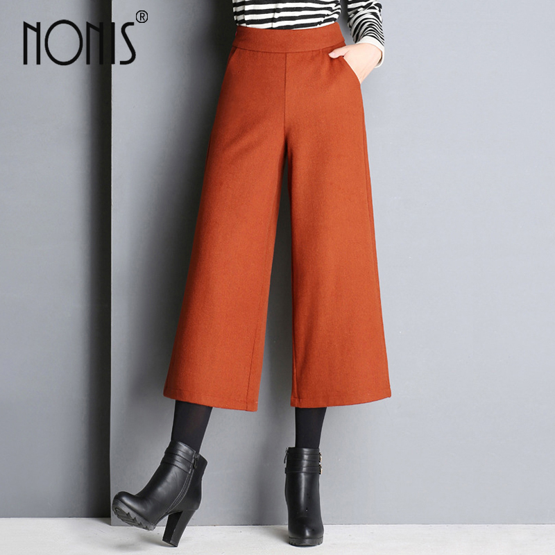 Nonis 2017 new Women Wide Leg elegant   Pants   Female Casual Loose   Capris   Ladies Femme Pantalon Formal Office Work Trousers