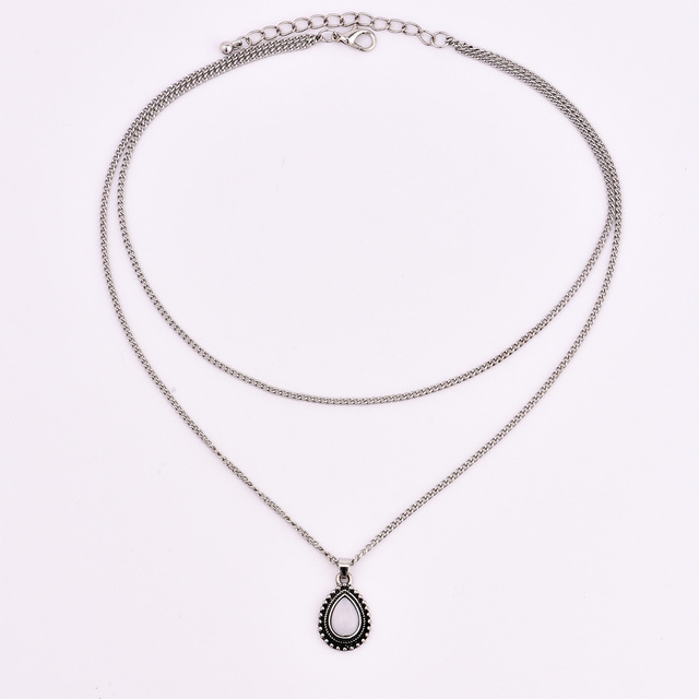 New vintage silver color drop stone pendant necklace women girl jewelry gifts N0045 4