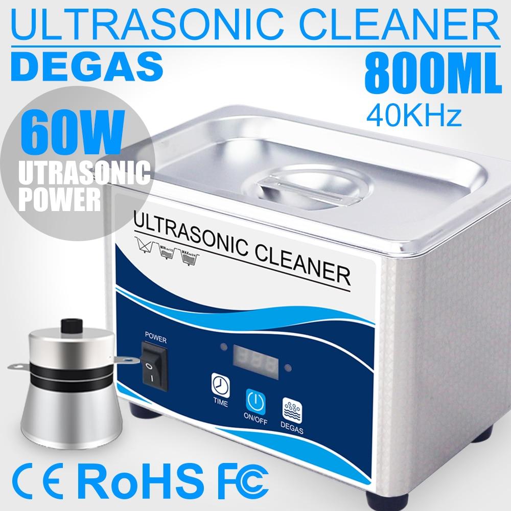 800ml ménage numérique nettoyeur à ultrasons 60W en acier inoxydable bain 110V 220V Degas ultrasons nettoyage pour montres bijoux