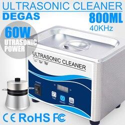 Nettoyeur ultrasonique numérique domestique, 60 W, bain en acier inoxydable, 800 V, nettoyage ultrason à dégazage pour montres, bijoux de 110 ml