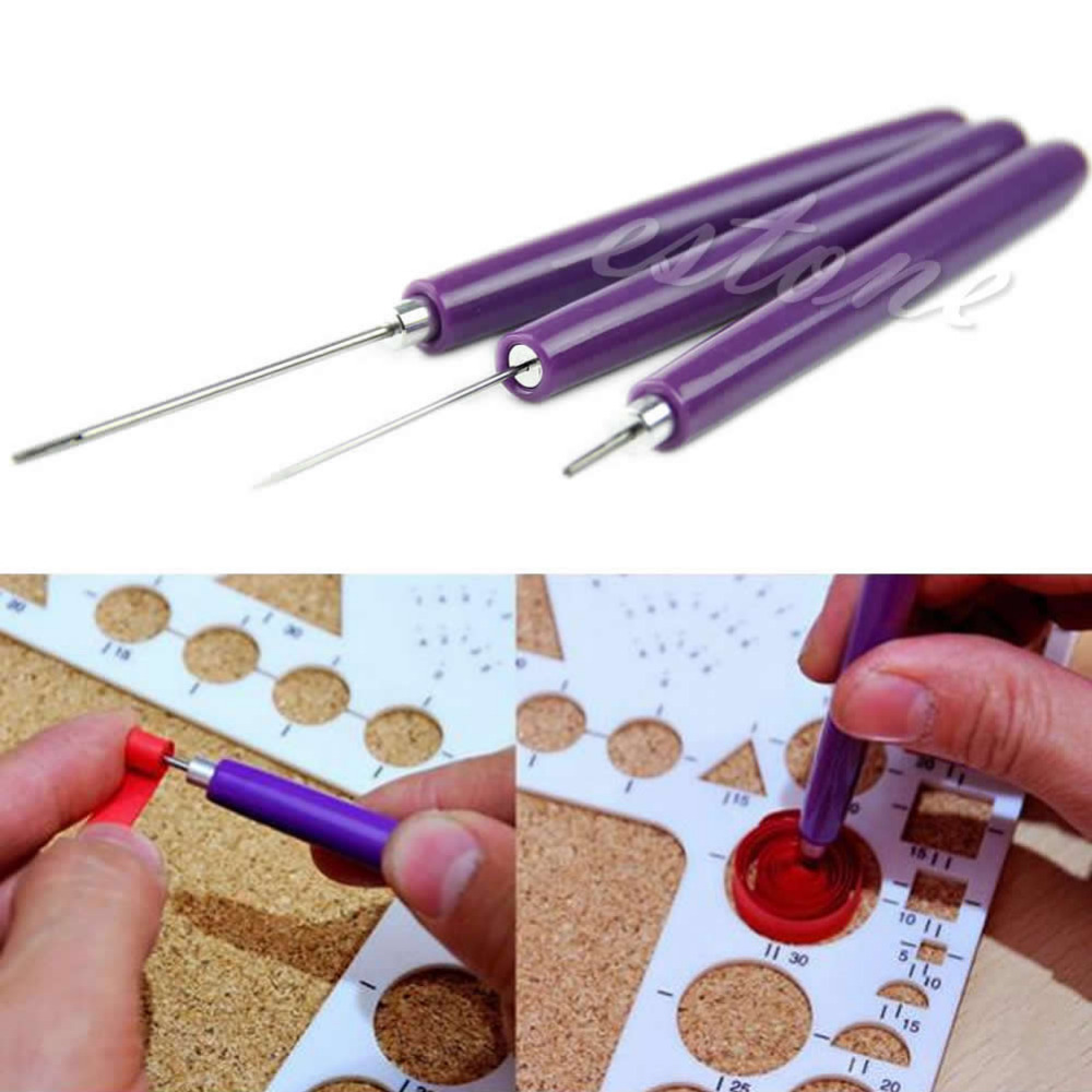 3pcs/Set Paper Quilling Tools Origami DIY - 2 Assorted Needles & 1 Slotted Tool #1
