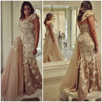 Elegant Champagne Evening Dress One Shoulder Women Formal Gown 2017 Couture Arabic Kaftan With Lace Applique Mermaid Party Gowns