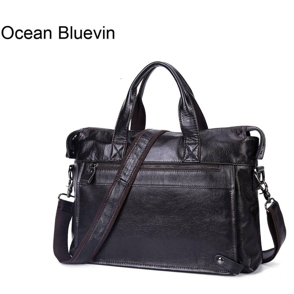 OCEAN BLUEVIN New Hot Men s Briefcase Messenger Shoulder Crossboby Bag Genuine Leather Handbag Briefcase Leather