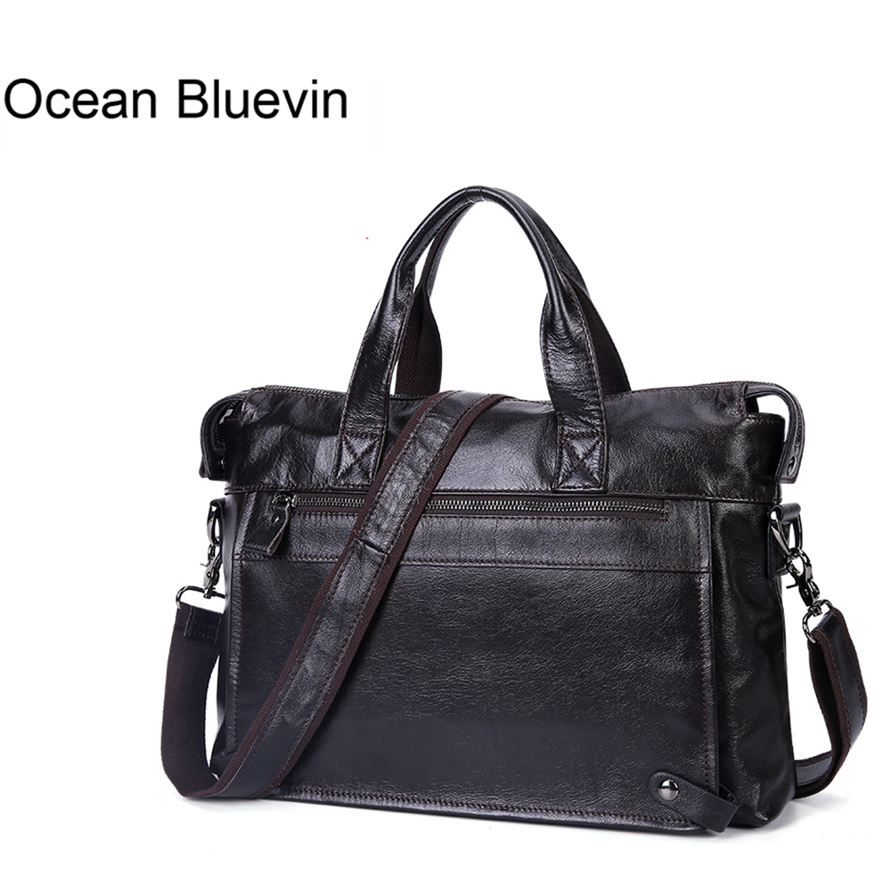 Ocean bluevin 새로운 핫 남자 서류 가방 메신저 어깨 crossboby 가방 정품 가죽 핸드백 서류 가방 가죽 노트북 가방-에서크록스 바디 백부터 수화물 & 가방 의  그룹 1