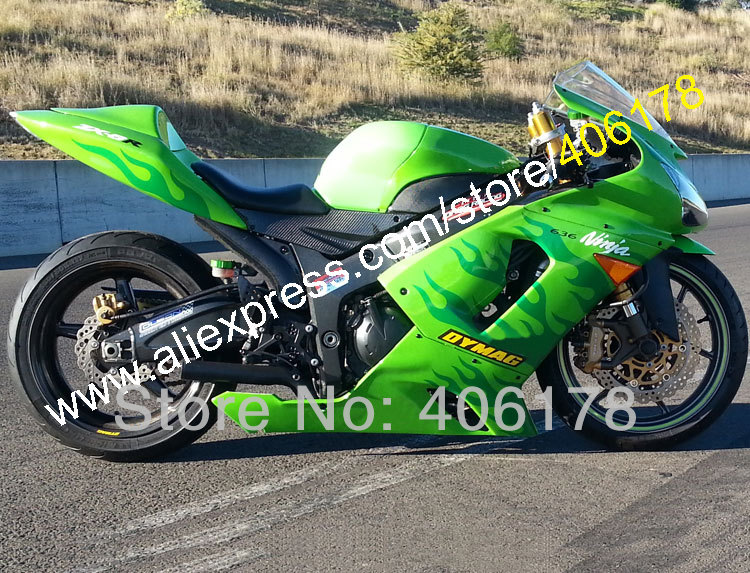 Hot Sales,Newest For Kawasaki Ninja ZX-6R ZX 6R 05 06 ZX6R ZX636 636 2005 2006 Green flame fairing kit (Injection molding) hot sales for kawasaki ninja kit zx6r 09 10 11 12 zx 6r 636 zx636 2009 2012 zx 6r motorcycle fairings parts injection molding