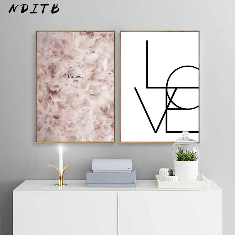 Feather Canvas Painting Wall Art Poster Nordic Abstract Love Print Modern Minimalist Wall Pictures for Living Room Decoration