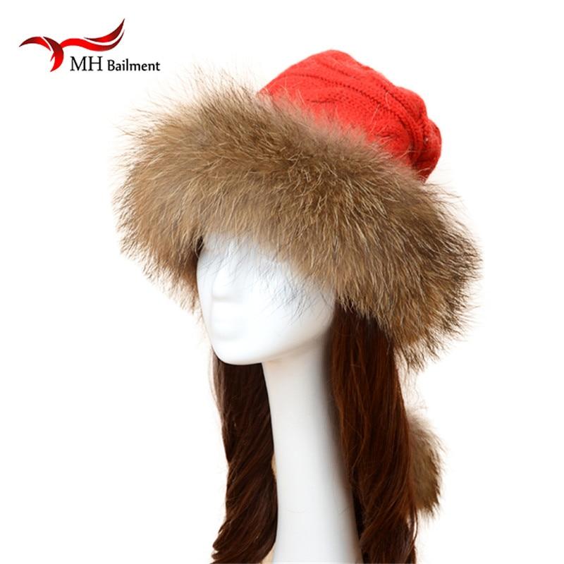 Winter Raccoon Fur Hats Real Fur pompom for Women girl 's Wool hat knitted cotton beanies cap New thick female cap W#70 смеситель для кухни cron cn 4563