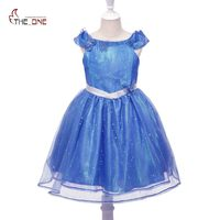 MUABABY Girls Cinderella Dress Butterfly Sequin Off Shoulder Kids Summer Dresses Children Princess Cosplay Costume For