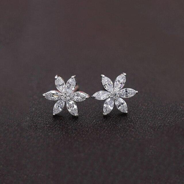 Hot Cubic Zirconia Cz Simple Small Flower Stud Earrings For Women Chain Tel Long Earring