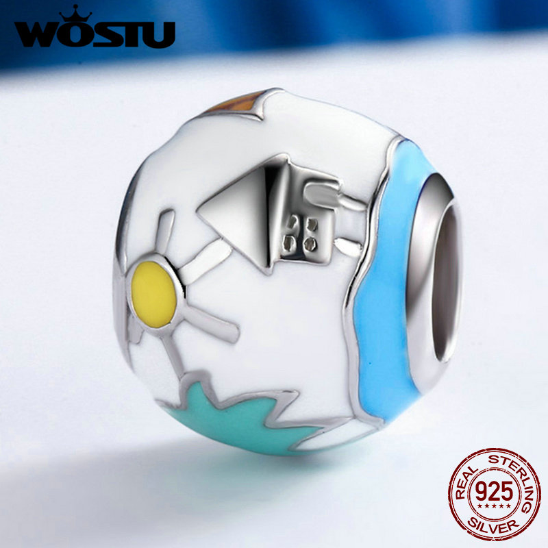 WOSTU New Fashion 925 Sterling Silver Summer Style Beads Fit Original Pandora Charm Bracelet Authentic DIY Jewelry Gift FIC182