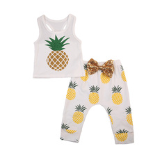 Newborn Infant Cute Baby Boy Girl Pineapple Outfits Sleeveless Vest Bow Harlem Pants 2Pcs Clothes Outfit Summer New new