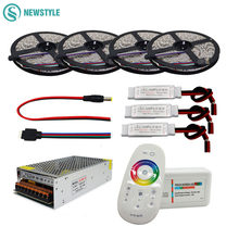 5050 RGBW/RGBWW Flexible LED Strip Set With 2.4G Touch RF Remote Controller+12V Power Supply Adapter+Amplifier 5M/10M/15M/20M
