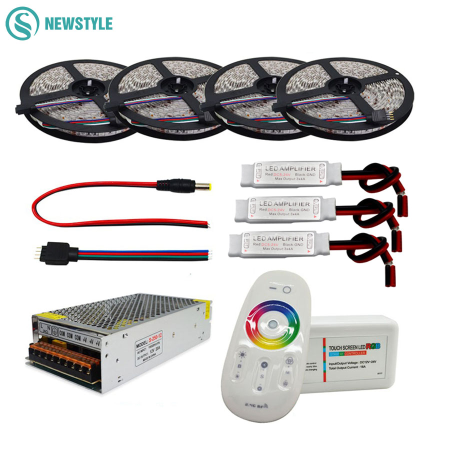 5050 RGBW/RGBWW Tira CONDUZIDA Flexível Conjunto Com 2.4G RF Toque Remoto Controlador + 12V fonte de Alimentação adaptador + Amplificador 5 M/10 M/15 M/20 M