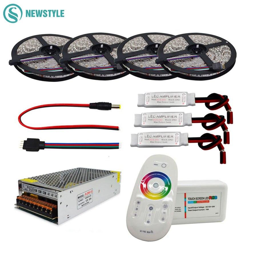 5050 rgbw/rgbww flexível led strip conjunto com 2.4g toque rf controle remoto + 12 v fonte de alimentação adaptador + amplificador 5 m/10 m/15 m/20 m
