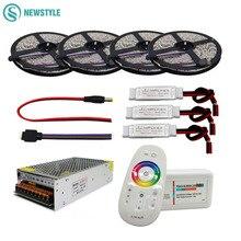 Zestaw elastycznych taśm LED, 5050 RGBW/RGBWW, z 2.4G dotykowym RF pilotem, 12V adapter do zasilacza, wzmacniacz 5m/10m/15m/20m