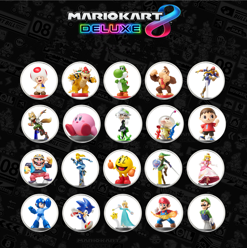 Full Set 20Pcs/set Mario Kart 8 NFC Game Card Tag For Amiibo Collection Coin Ntag215 Printed Sticker NFC Tag NS/Switch/Wii U