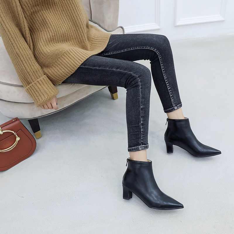 REAVE KEDI Kış yarım çizmeler kadınlar için fermuar Sivri Burun bootie 5cm Kalın topuk botines mujer chaussures femme 2019 Bahar a1439