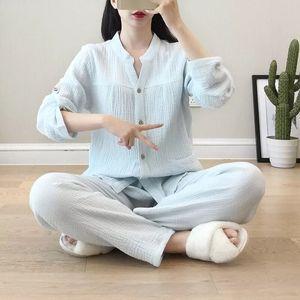 Image 4 - Krepa bawełniana z dekoltem w kształcie litery v piżamy garnitur kobiety jesień cienkie gaza małe stoisko kołnierz z długim rękawem spodnie koreański rozrywka usługi w domu