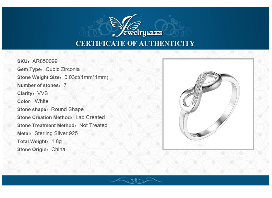 JewelryPalace Infinity Forever Love Cubic Zirconia Anniversary Promise Ring For Women Genuine 925 Sterling Silver Fine Jewelry 5