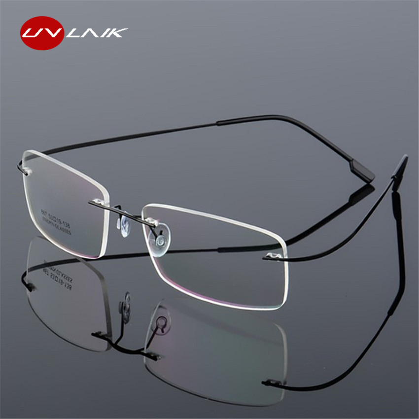 f11cf5da3d UVLAIK Rimless Titanium Eyeglasses Frames Women Men Flexible Optical Frame  ...