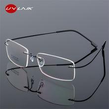 f261f19b7a3b95 UVLAIK Randloze Titanium Brillen Frames Vrouwen Mannen Flexibele Optische  Frame Spektakel Frameloze Bril bril