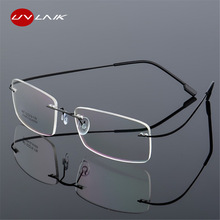 UVLAIK Rimless Titanium Eyeglasses Frames Women Men Flexible