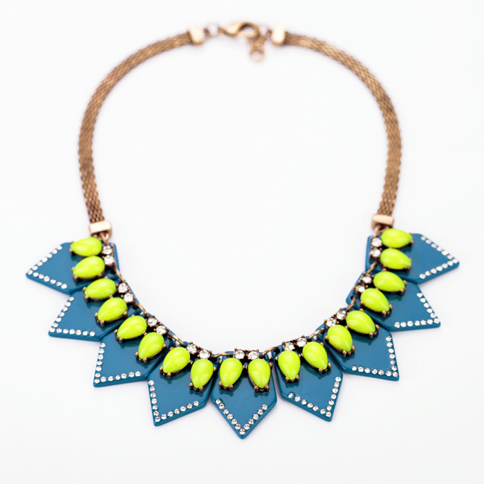 Summer Style Green Blue Acrylic Geometric Pendants Necklace Antique Gold Snack Chain Necklace Collars For Women