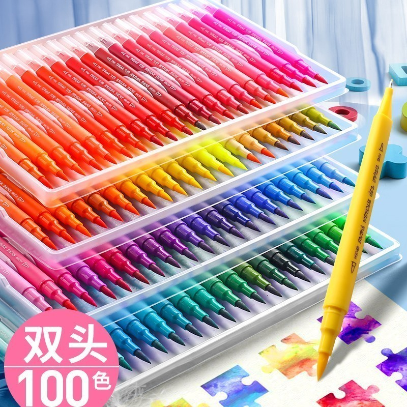 24//36//100Color Water Based Art Marker Pen Dual Head Line Drawing With Brush Head