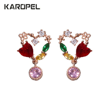 2019 Vintage Female Red Crystal Heart Shape Zircon Stone Earrings Fashion Jewelry Stud For Women