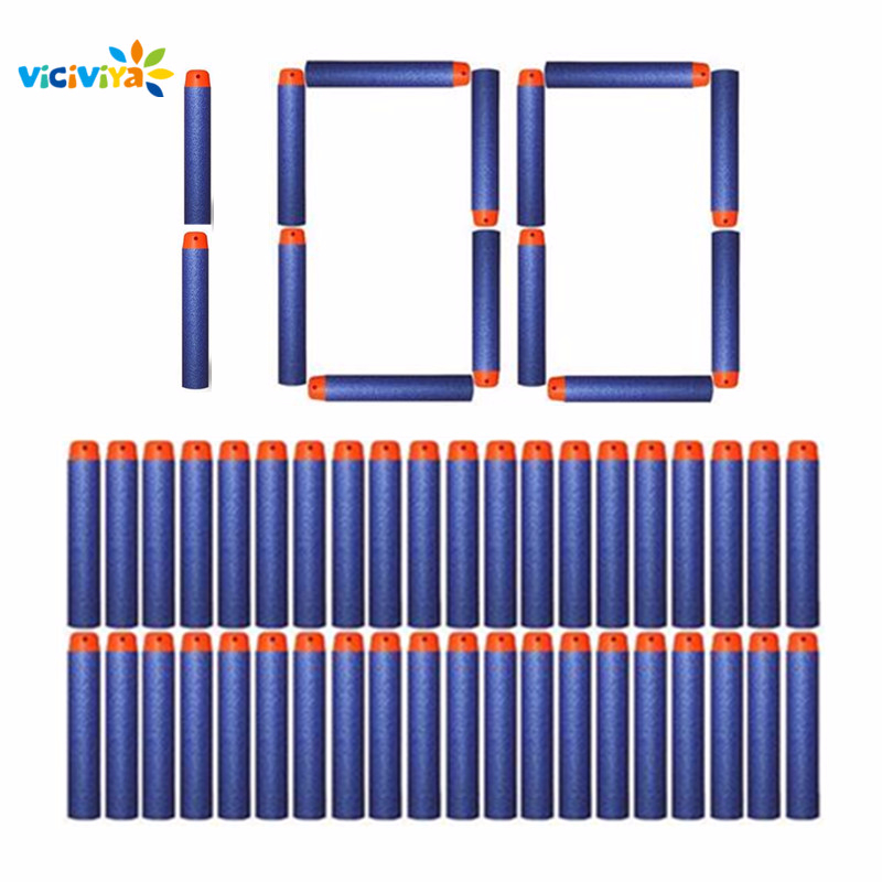 VICIVIYA 100Pcs For Nerf Soft Toy Gun Bullets Round Head Air Hole Foam Darts Bullet  7.2cm For N-strike Elite Series Blasters