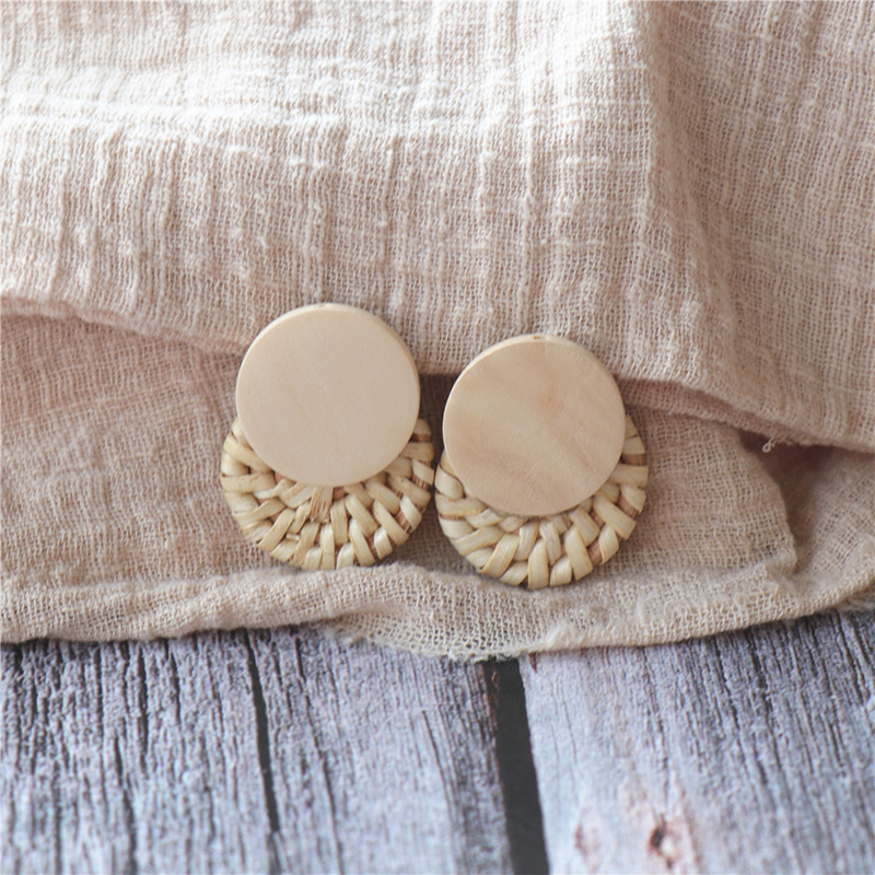 2018 Fashion Wooden Round Stud Earrings For Women Handmade Linen Rattan Vine Weave Straw Earring Brincos Jewelry Gift LE06032 ...