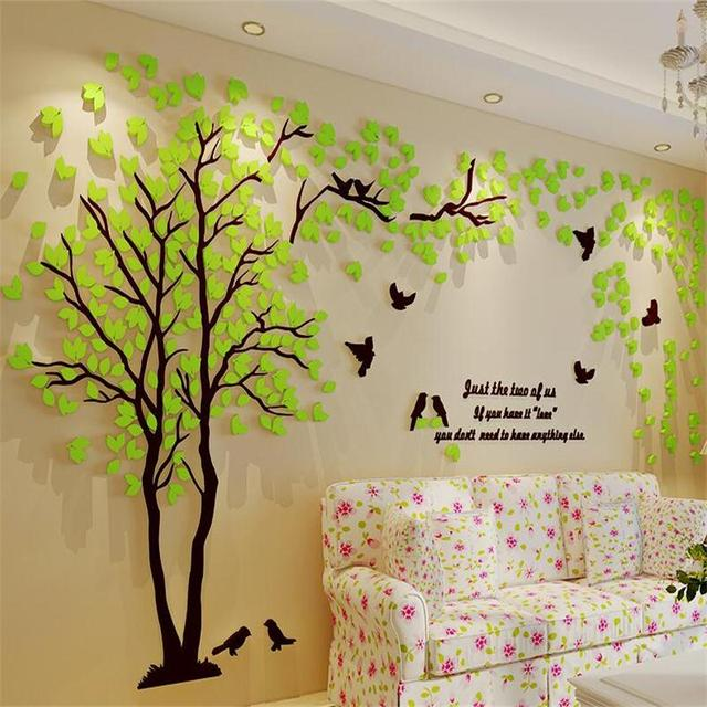1pcs 500x250cm 3d texture acrylic tree tv setting wall decal living