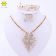 Jewelry Sets For Women Gold/Silver Plated Accessories Pendant Statement African Beads Crystal Necklace Earrings Bracelet Ring