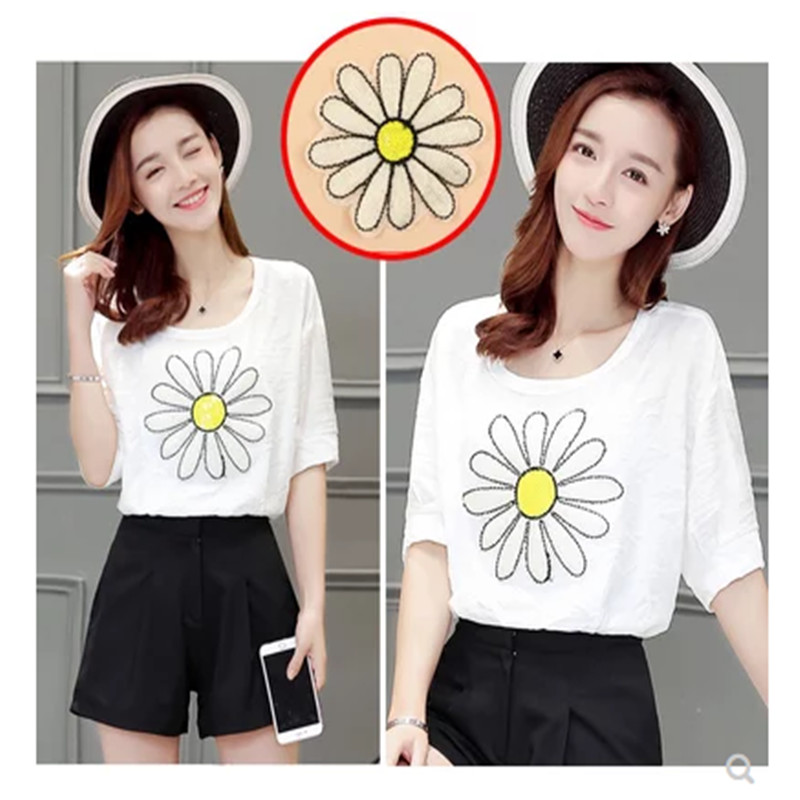 5pcs/lot Embroidered Sunflower Sticker Iron On Sew Clothes Patch DIY Jeans Coats Bags Appliques Handmade flower Shirt badge