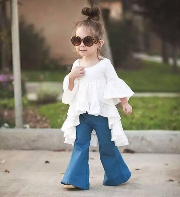 de3cd16938c New children s clothing children s clothing kids jeans girls long pants  bell bell-bottoms jeans 5