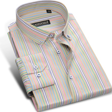 Fashion Long Sleeve Colorful Striped Shirt Men Cotton Famous Brand Formal Business Casual Slim Fit Male Dress Shirts Plus Size