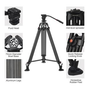 Image 3 - ASHANKS 0508A 5KG Professional Tripod camera tripod/Video Tripod/Dslr VIDEO Tripod Fluid Head Damping for video