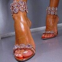 2017 הגעה לניו יוקרה קריסטל קשט קיץ סנדל העקב פגיון רצועת קרסול סנדלי אישה נעלי ערב מסיבת חתונה