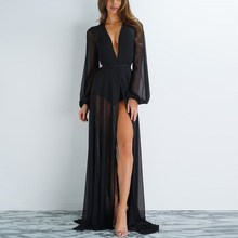 Women Black Sheer Mesh Maxi Dress Sexy Beach Kimono V Neck High Split Vestidos