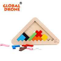 Global Drone Organic Wooden Tetris Game 3d Puzzle Tangram Brain Teaser Puzzle Jigsaw Board Toys Children