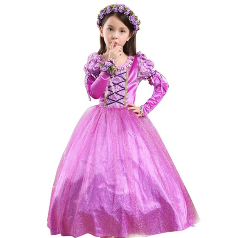 2018 New high quality purple Princess Dress for girls Halloween Xmas Chiffon  tutu dress Girls Cosplay Costume Party Clothes