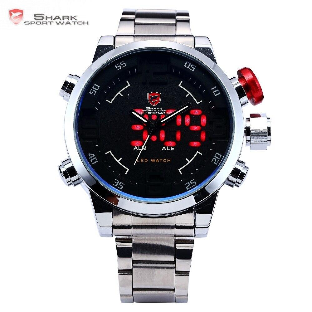 4f490b50001 Gulper TUBARÃO Relógio Do Esporte Da Marca Preto Dos Homens de Luxo relógios  de Pulso de Banda de Aço Completo Calendário Digital relógio de Quartzo  Relogio ...