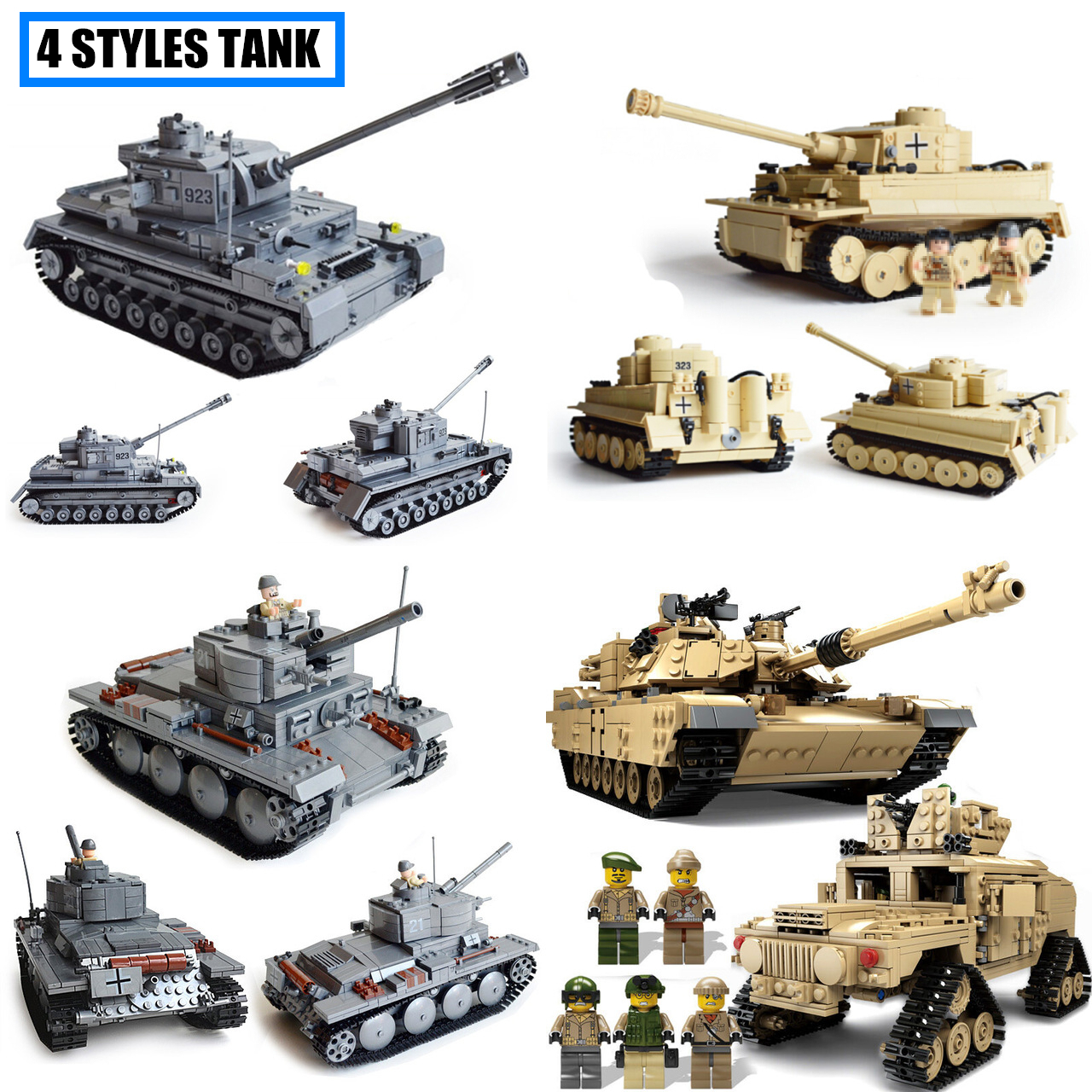 все цены на KAZI Tank series Weapon Germany tank fit legoings army swat military tank figures city Model Building Blocks brick Toys gift kid