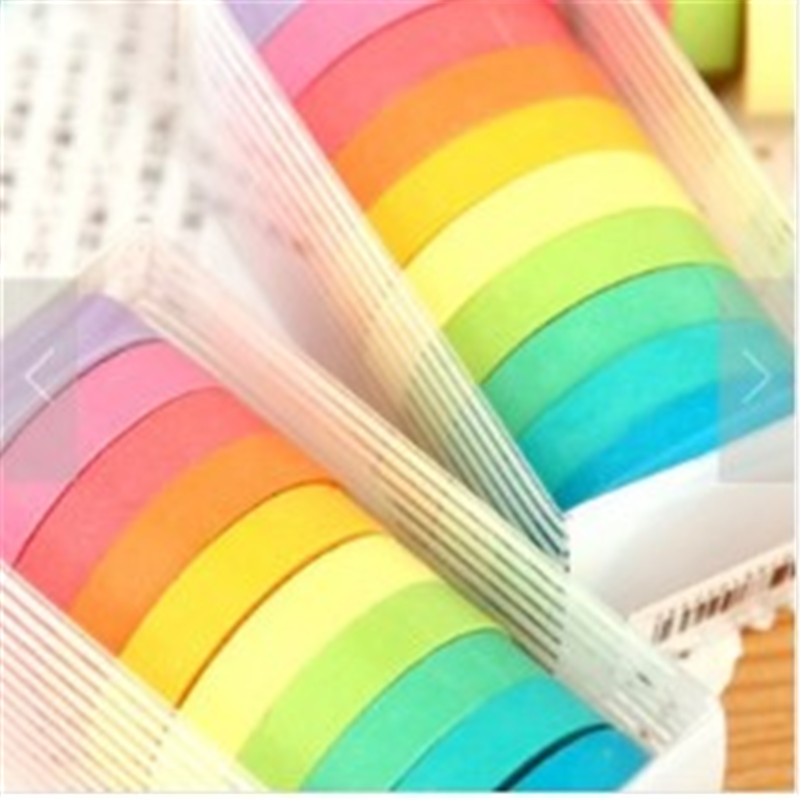 10pcs/set Beautiful Rainbow 10 Colors Masking Tape Adhesive Tapes Stickers Scrapbooking Decorative Tapes Label Stationery